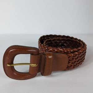 Coach Womens British Tan Braided Leather Belt